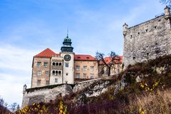 View of Pieskowa Skala Castle and garden, medieval building near Krakow, Poland Stock Images