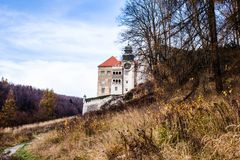 View of Pieskowa Skala Castle and garden, medieval building near Krakow, Poland Royalty Free Stock Photo