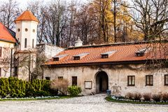 View of Pieskowa Skala Castle and garden  Stock Photos