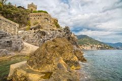 View of Pieve Ligure and on Sori on the background, italian towns of ligurian riviera, Genoa province, Italy. View of Pieve Ligure and on Sori on the background Stock Photo