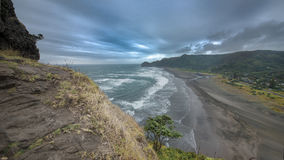 View of Piha Beach in new zealand. View of Piha Beach from top of Lion`s rock in new zealand stock image