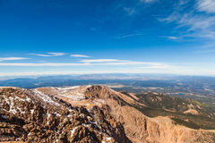 View from Pike Peak summit, Colorado Springs, CO Stock Image