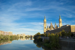 View of Pilar's cathedral and Ebro river in Zaragoza, Spain Stock Images