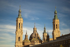 View of Pilar's cathedral in saragossa, spain Stock Images