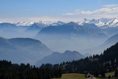 Pilatus in Switzerland, Mount Pilatus. View from Pilatus. Mount Pilatus, is a mountain massif overlooking Lucerne in Central Switzerland. It is composed of royalty free stock photos