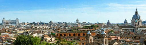 View from the Pincio Landmark in Rome, Italy. On a beautiful warm spring morning Royalty Free Stock Images
