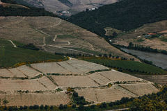 View from Pinhao village in Portugal to Douro valley and river Royalty Free Stock Photo