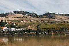 View from Pinhao village in Portugal to Douro valley and river Stock Photo