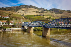 View from Pinhao village in Portugal to Douro valley Stock Photo