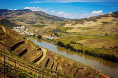 View from Pinhao village to Douro valley and river, Portugal stock images