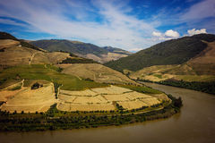 View from Pinhao village to Douro valley and river, Portugal Stock Photo