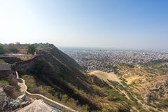 View of pink city from Nahargarh Fort, Jaipur stock photography