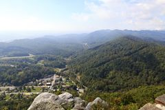 View of Cumberland Gap from Pinnacle Overlook in Kentucky. View from Pinnacle Overlook and the Kentucky Mountains, 25E in the Background stock photo
