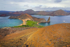 View of Pinnacle Rock on Bartolome island, Galapagos National Pa stock photography