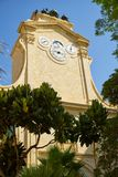 The clock tower in Prince Alfred`s Courtyard of Grandmaster`s Pa. The view of Pinto's turret clock which show the hour, the day, the month and the phases of Royalty Free Stock Photos