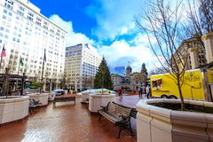View of Pioneer Courthouse Square in downtown Portland. Portland, United States - Dec 21, 2017 : View of Pioneer Courthouse Square in downtown Royalty Free Stock Photos