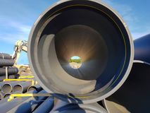 View through the pipe on the construction site. stock photography