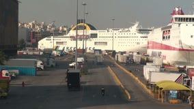 View of Piraeus port stock video