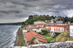 View of Piran under a threatening sky, Slovenia Stock Images