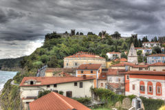 View of Piran under a threatening sky, Slovenia Stock Photos