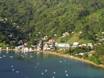 Charlotteville and Prates Bay, Tobago. View of Pirates Bay and Charlotteville, Tobago Stock Photography