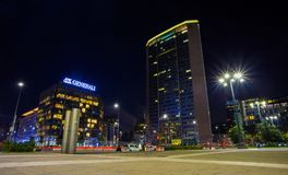 View of Pirelli skyscraper by night named `Pirellone` in Duca D`Aosta Square near Train Central Station in Milan, Italy. Europe Royalty Free Stock Photo