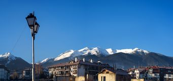 View of pirin mountains bansko sity. View of snowy pirin mountais from Bansko sity in Bulgaria Stock Photos