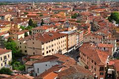 Italian architecture. View with Pisa city from the tower of Pisa Royalty Free Stock Photography