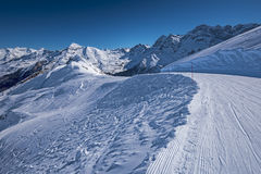 View from the piste of Gavarnie Gedre ski resort Stock Images
