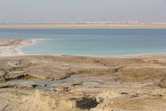 View on a pitfall, sinkholes and conversions of the Dead Sea Royalty Free Stock Image