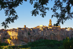 View of pitigliano among the branches Royalty Free Stock Photography