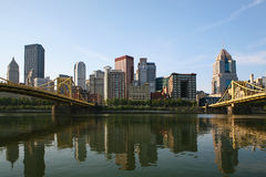 View of the Pittsburgh city center between two bridges Stock Image