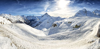 View of Piz Bernina Alps mountains in Switzerland. Stock Photo