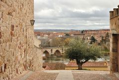 The view from Pizarro` Street, Zamora, Spain royalty free stock images