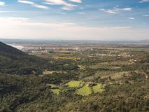 The Pla del Emporda. View of the Pla del Emporda and the Roses village in the north of Catalonia, Spain royalty free stock photo