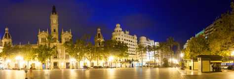 View of Placa del Ajuntament in night. Valencia Royalty Free Stock Photo