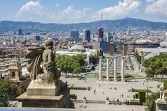 View on Placa Espanya and Montjuic Hill with National Art Museum of Catalonia Stock Images