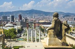 View on Placa Espanya and Montjuic Hill with National Art Museum of Catalonia Stock Photos