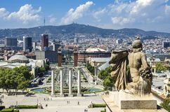 View on Placa Espanya and Montjuic Hill with National Art Museum of Catalonia Royalty Free Stock Photography