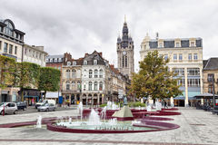View from Place d'Armes square on Belfry of Douai Royalty Free Stock Photography