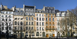 View of Place Dauphine in Paris. Ile de la cite Stock Image