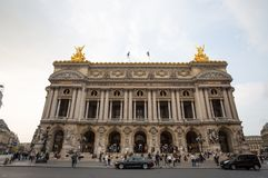 View of Place de l`Opera and Opera de Paris building. Grand Opera Garnier Palace is famous neo-baroque building in Paris, France royalty free stock photography