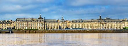 View of Place de la Bourse and the Garonne river in Bordeaux, France Stock Photography
