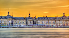 View of Place de la Bourse and the Garonne river in Bordeaux, France Royalty Free Stock Photo