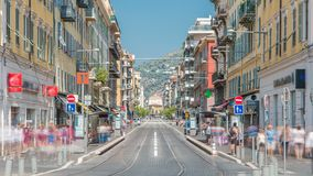 View of Place Garibaldi timelapse with trams on the street and traffic. It is named after Giuseppe Garibaldi, hero of Italian unification born in Nice. Place stock footage