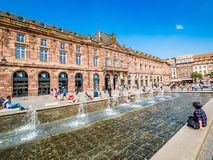 View of Place Kleber. Place Kleber - largest square at the center of the city of Strasbourg. Strasbourg, France - Aug 18, 2018: View of Place Kleber. Place stock photography