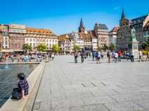 View of Place Kleber. Place Kleber - largest square at the center of the city of Strasbourg. Strasbourg, France - Aug 18, 2018: View of Place Kleber. Place stock photos