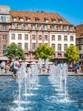 View of Place Kleber. Place Kleber - largest square at the center of the city of Strasbourg. Strasbourg, France - Aug 18, 2018: View of Place Kleber. Place stock photo