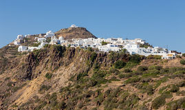 View of Plaka village, Milos island, Cyclades, Greece Stock Image