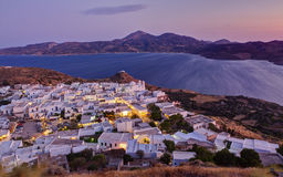 View of Plaka village at sunset, Milos, Greece Stock Photography